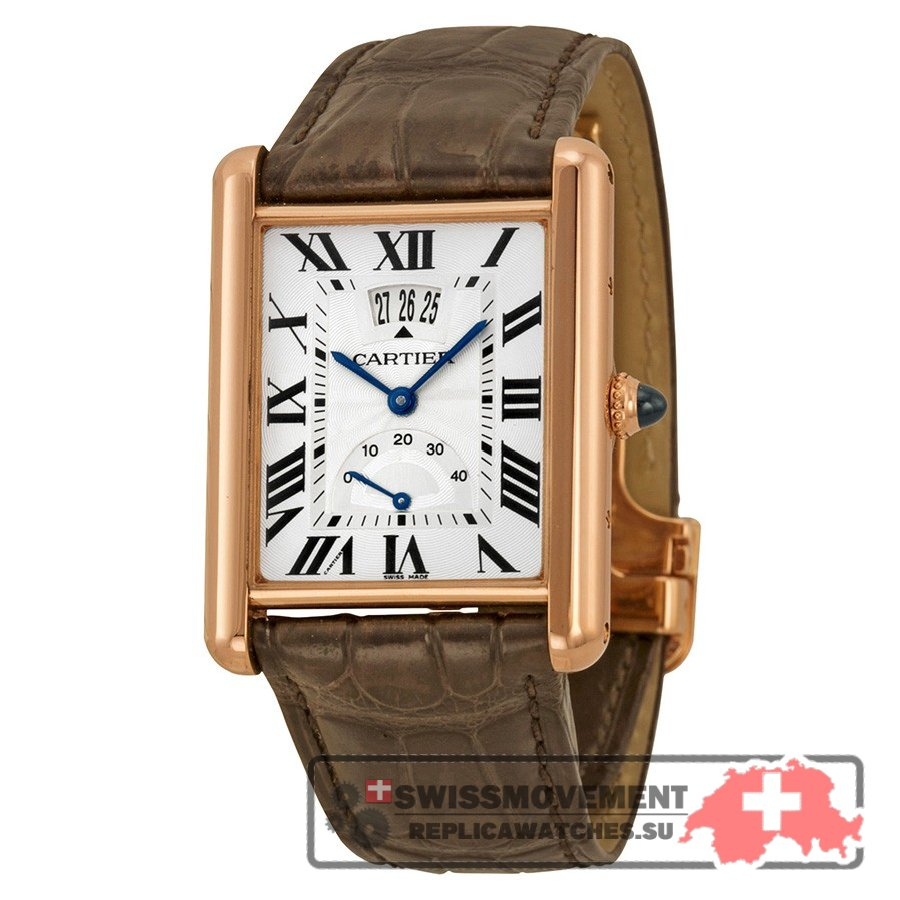 Cartier Tank Louis Silver Dial 18k Rose Gold Brown Leather Mechanical Men's Watch W1560003