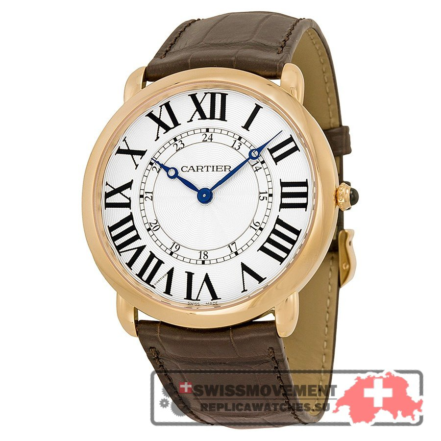 Cartier Ronde Louis Silver Dial 18k Rose Gold Brown Leather Automatic Men's Watch W6801004