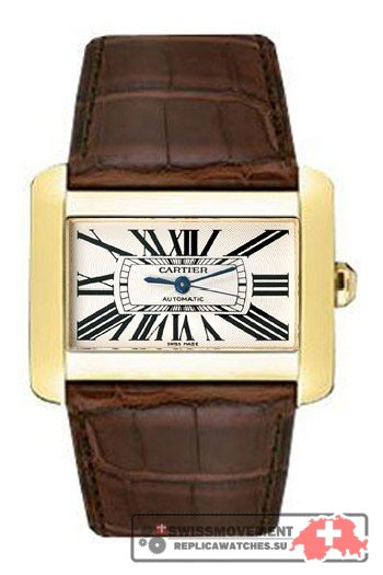 Cartier Divan White Dial 18K Yellow Gold Automatic Ladies Watch W6300856
