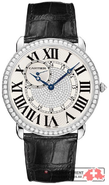 Cartier Ronde Louis Diamond Pave 18 kt White Gold Men's Watch WR007004