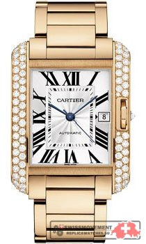 Cartier Tank Angalise Silver Dial 18kt Pink Gold Men's Watch WT100004