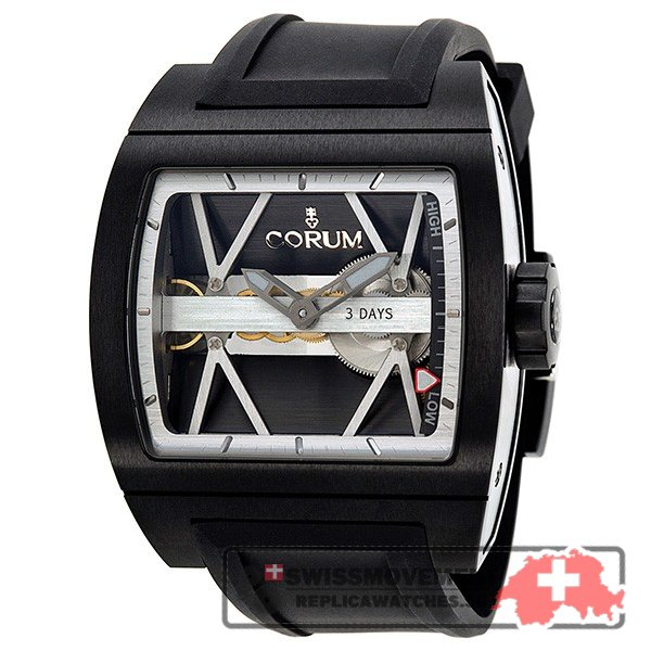 Corum Ti-Bridge 3 Day Automatic Charcoal Grey Openwork Dial Titanium Men's Watch 10710294F3710000
