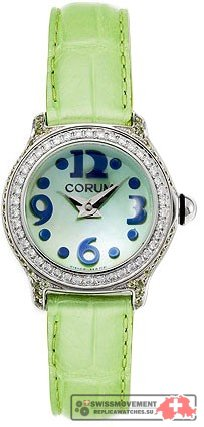 Corum Bubble Mini Diamond Steel Green Ladies Watch 101 172 47 0007 PN54