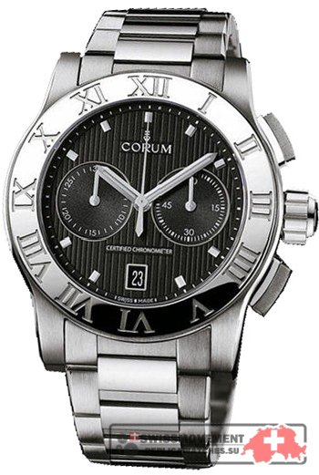 Corum Romulus Chronograph Black Dial Men's Watch 98471520/V810BN
