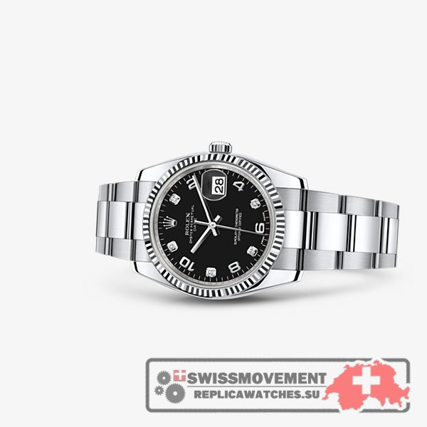Rolex Oyster Perpetual Date 34 Fluted Black (115234-0011)