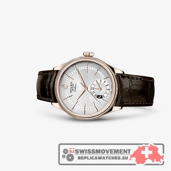 Rolex Cellini Dual Time Everose Silver Brown (50525-0008)