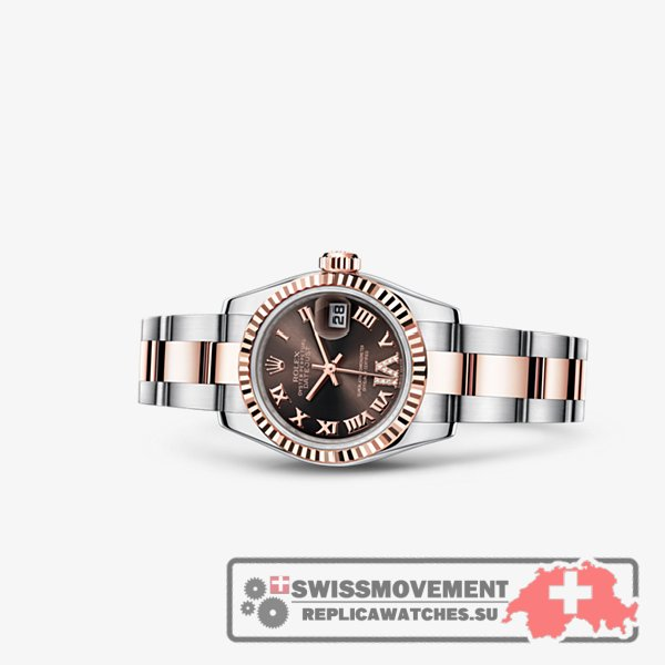 Rolex Lady-Datejust 26 Rolesor Everose Fluted Chocolate Oyster (179171-0076)