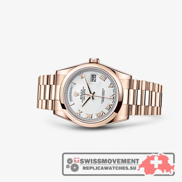 Rolex Day-Date 36 Everose Domed President Ivory Roman (118205f-0016)