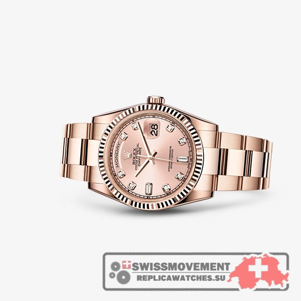 Rolex Day-Date 36 Everose Fluted Oyster Pink Diamonds (118235f-0058)
