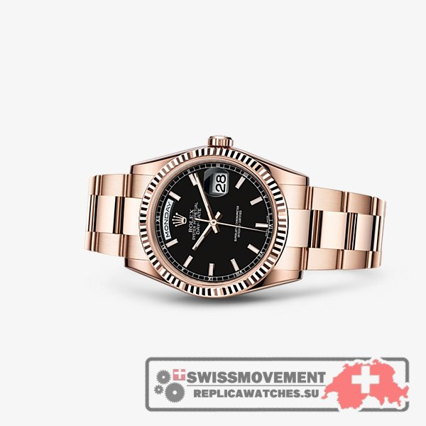 Rolex Day-Date 36 Everose Fluted Oyster Black (118235f-0059)