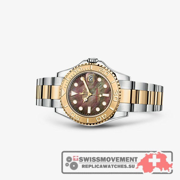 Rolex Yacht-Master 35 Rolesor Black Mother of Pearl (168623-0018)
