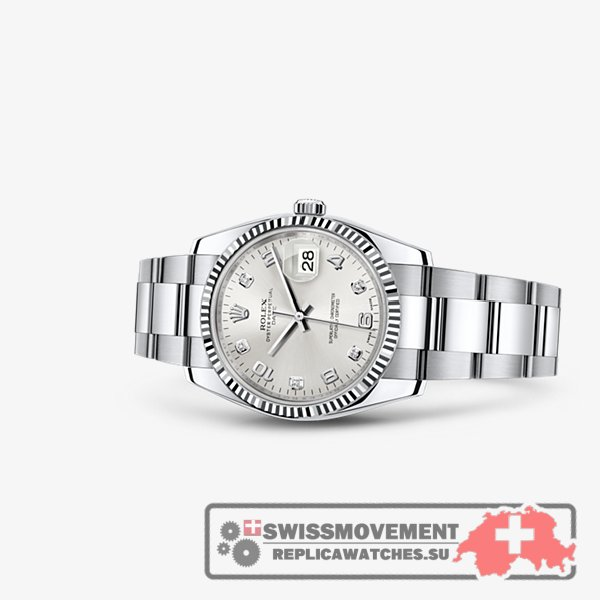 Rolex Oyster Perpetual Date 34 Fluted Silver (115234-0012)