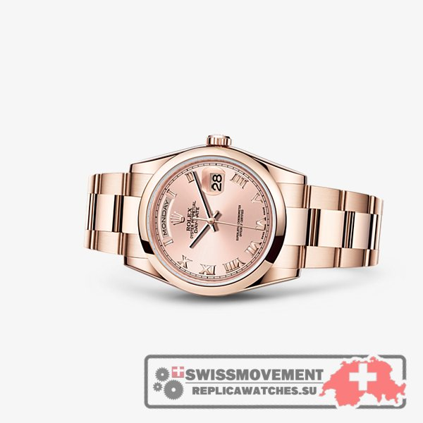 Rolex Day-Date 36 Everose Domed Oyster Pink Roman (118205f-0063)